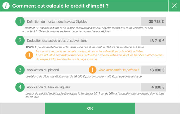 screen exemple de calcul du CITE dans CAP RENOV+