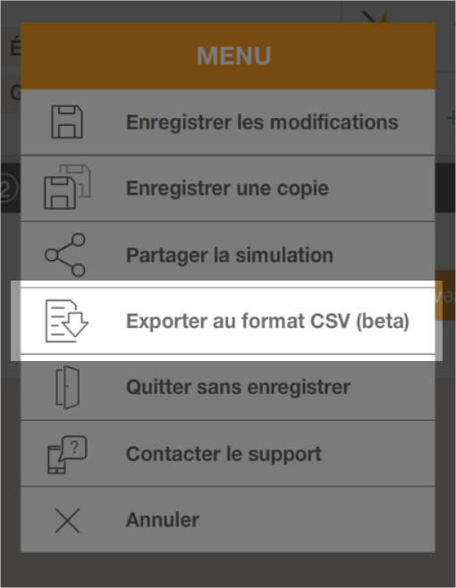 screen fonction export csv